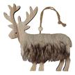 Faux Fur Wooden Reindeer Christmas Hanger