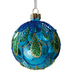 Peacock Blue Glass Christmas Bauble Close Up