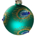 Peacock Glitter Feather Glass Christmas Bauble Close Up