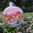 Personalised Peacock Feather Glass Christmas Bauble - Merry Christmas Natalie