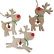 Red Nose Reindeer with Bells Wooden Hanger Set
